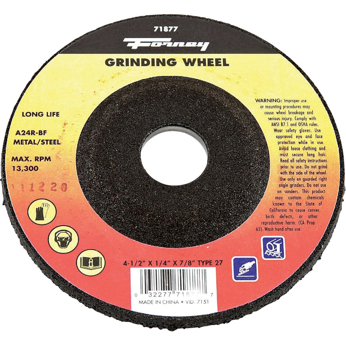 "4-1/2"" GRINDING WHEEL - 71877 by Forney Industries"
