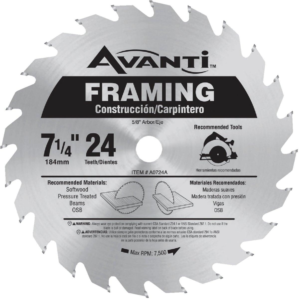 Avanti 7-1/4 In. 24-Tooth Framing Circular Saw Blade