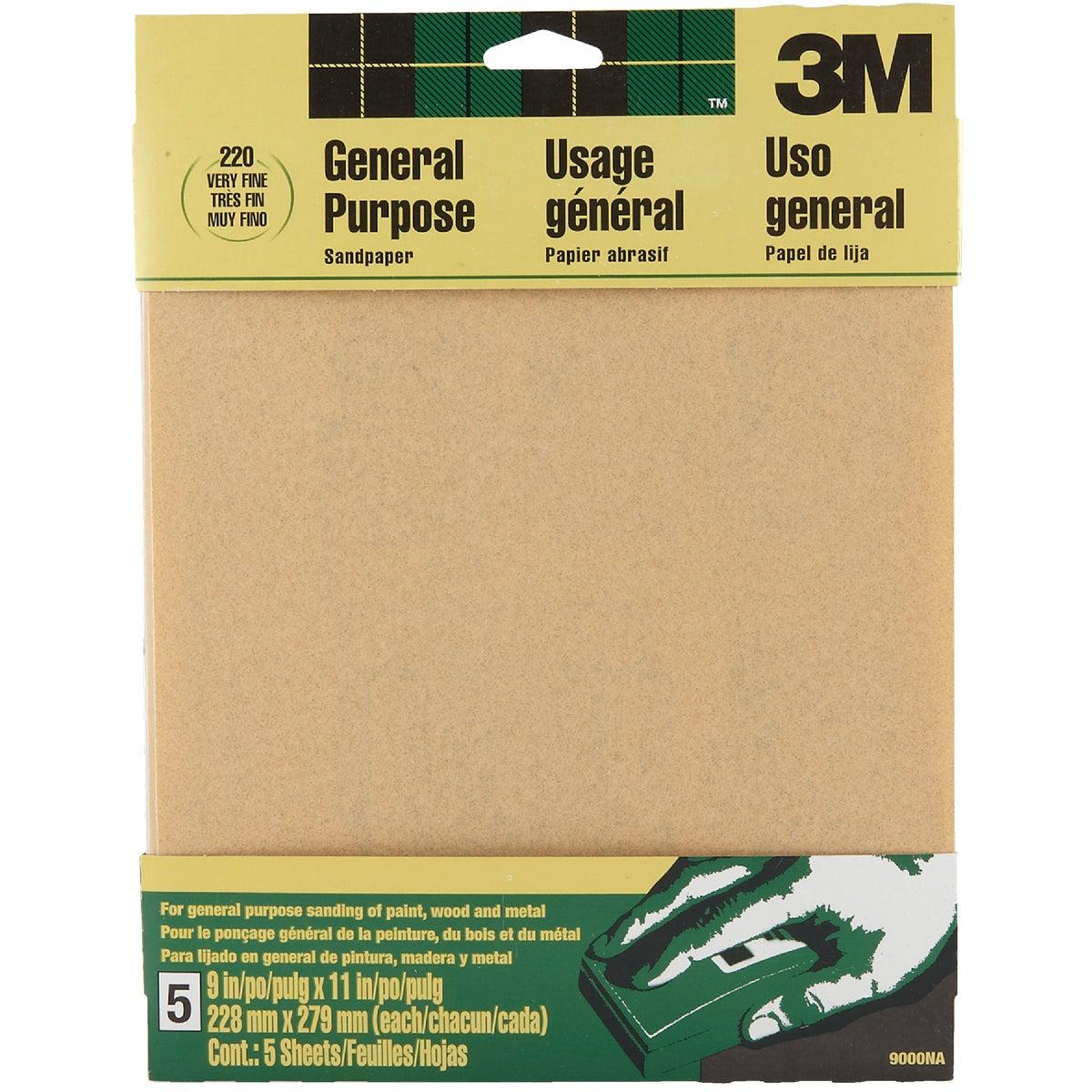 3M General-Purpose 9 In. x 11 In. 220 Grit Very Fine Sandpaper (5-Pack)