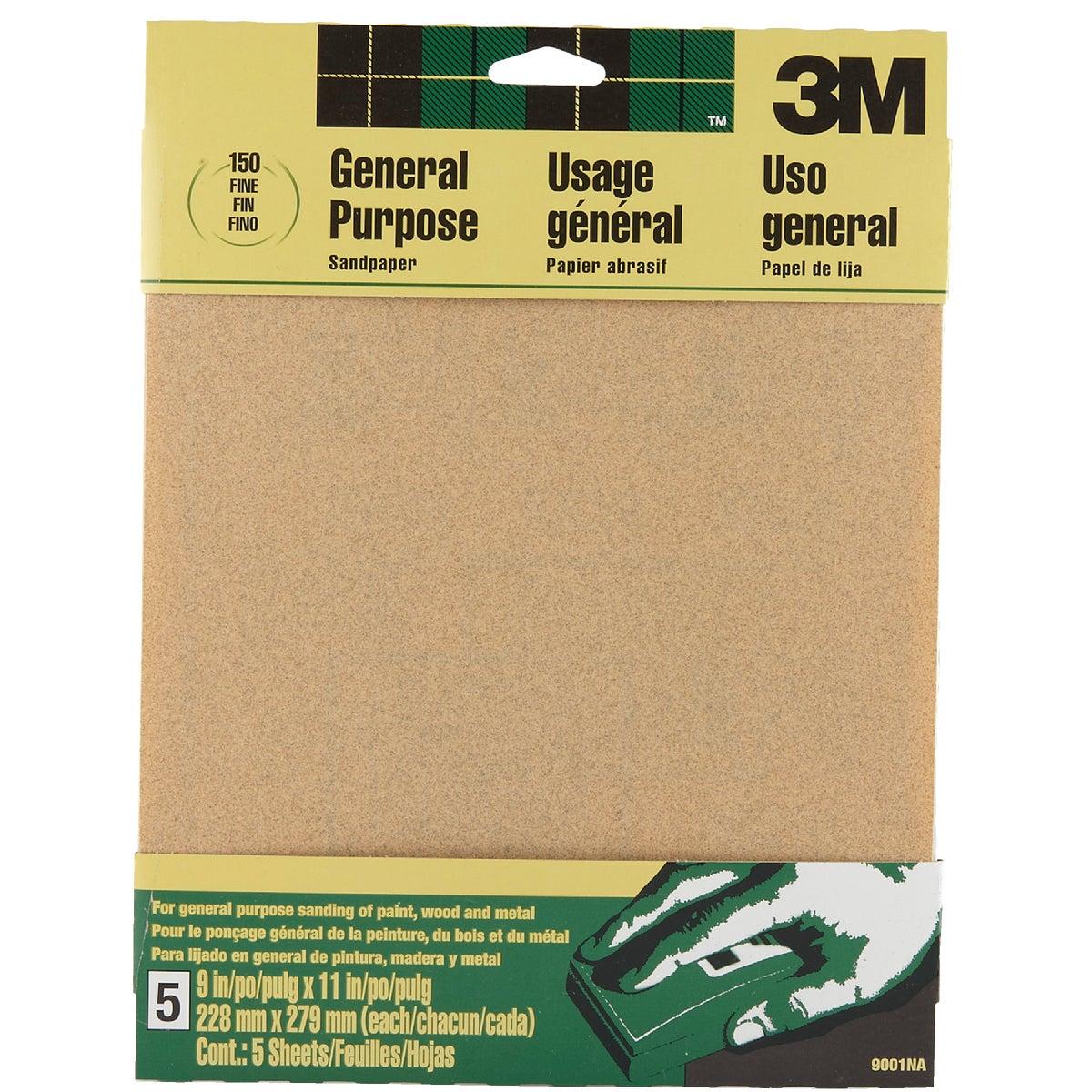 3M General-Purpose 9 In. x 11 In. 150 Grit Fine Sandpaper (5-Pack)