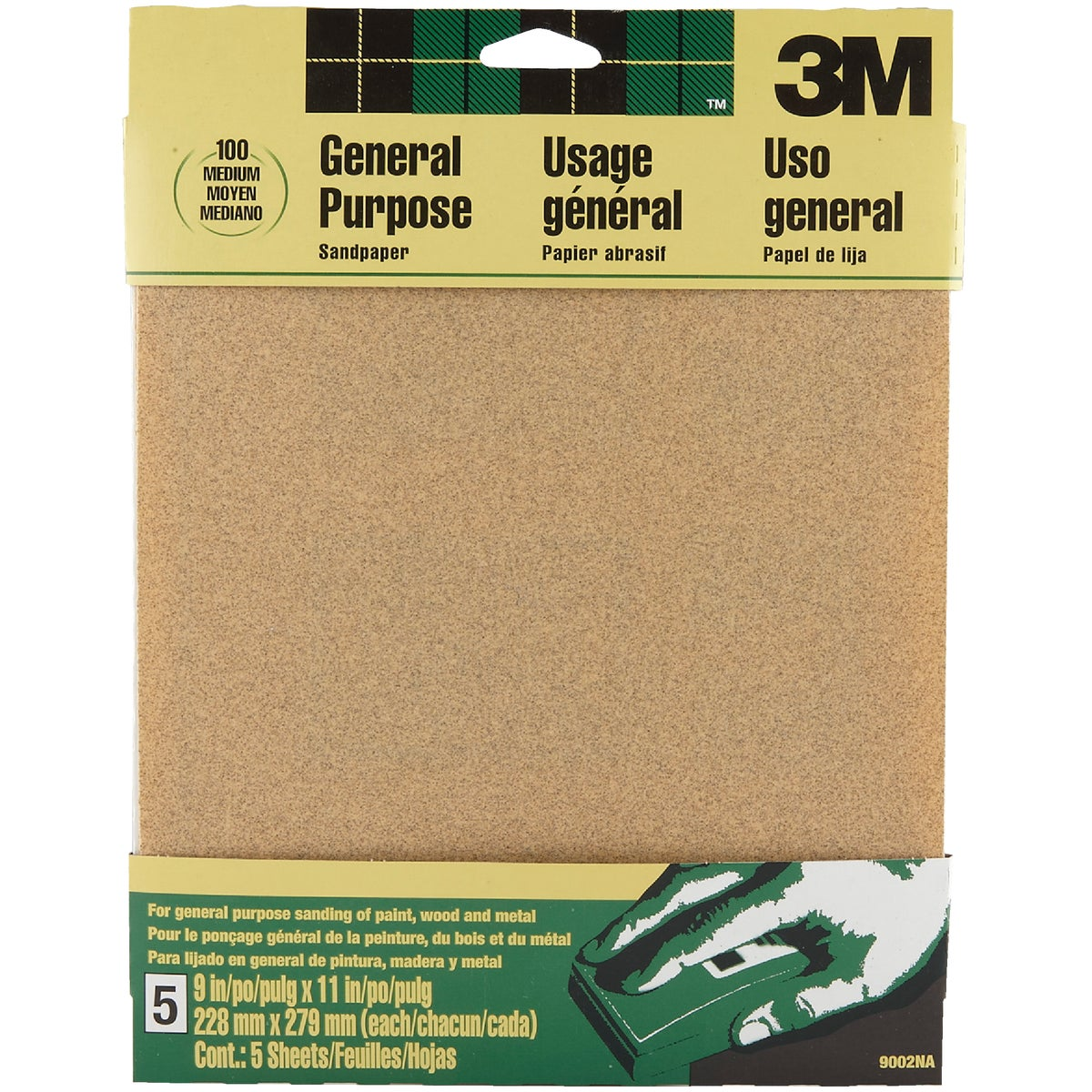 3M General -Purpose 9 In. x 11 In. 100 Grit Medium Sandpaper (5-Pack)