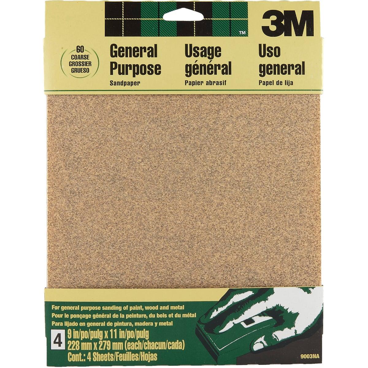 3M General-Purpose 9 In. x 11 In. 60 Grit Coarse Sandpaper (4-Pack)