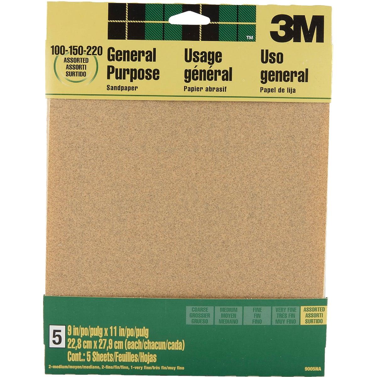 3M General Purpose 9 In. x 11 In. 220/150/100 Grit Assorted Grade Sandpaper (5-Pack)