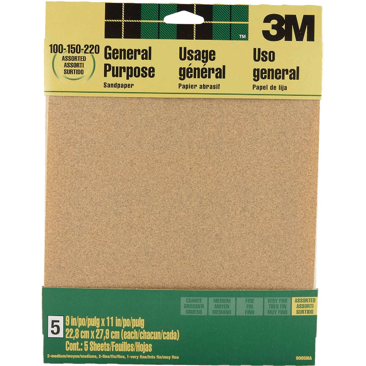5PK ASTD SANDPAPER - 9005 by 3m Co
