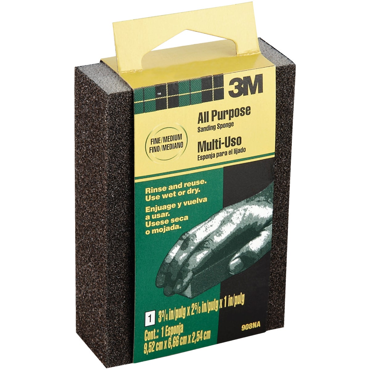 3M All-Purpose 2-5/8 In. x 3-3/4 In. x 1 In. Fine/Medium Sanding Sponge