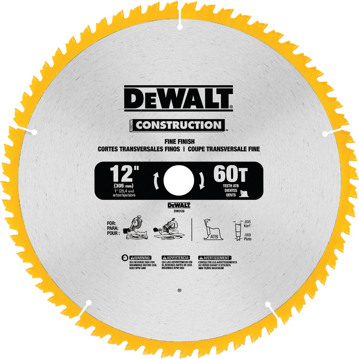 "12"" 60T CARBIDE BLADE - DW3126 by DeWalt"