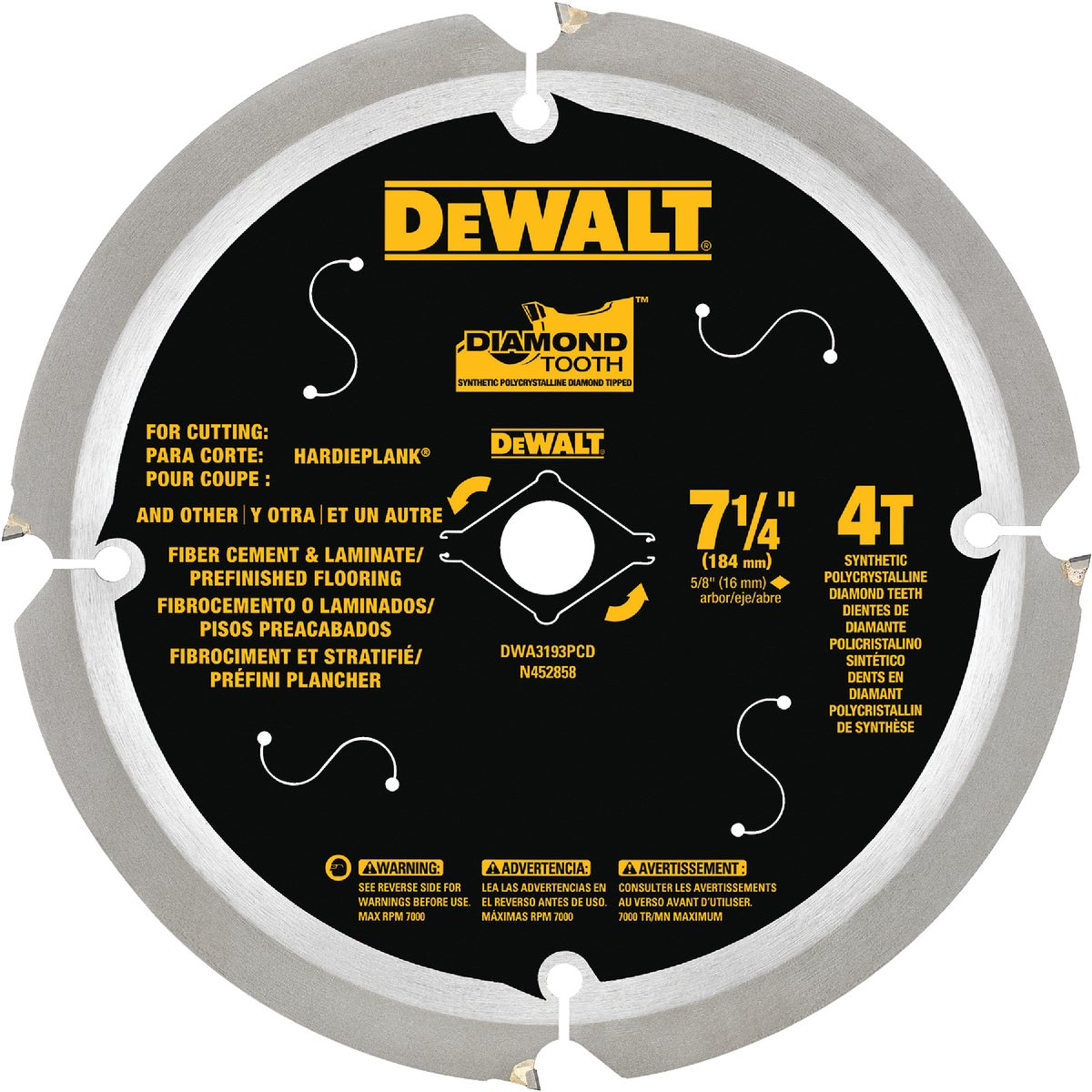 "7-1/4"" 6T F/CEMENT BLADE - DW3193 by DeWalt"