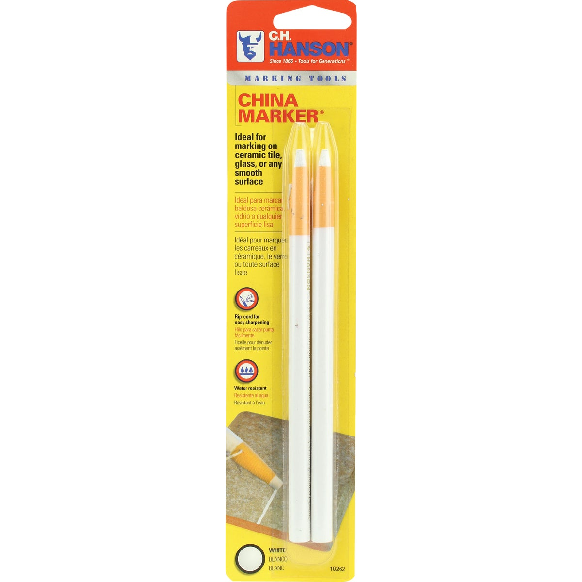 2PK WHITE CHINA MARKER - 1779835 by Irwin Industr Tool