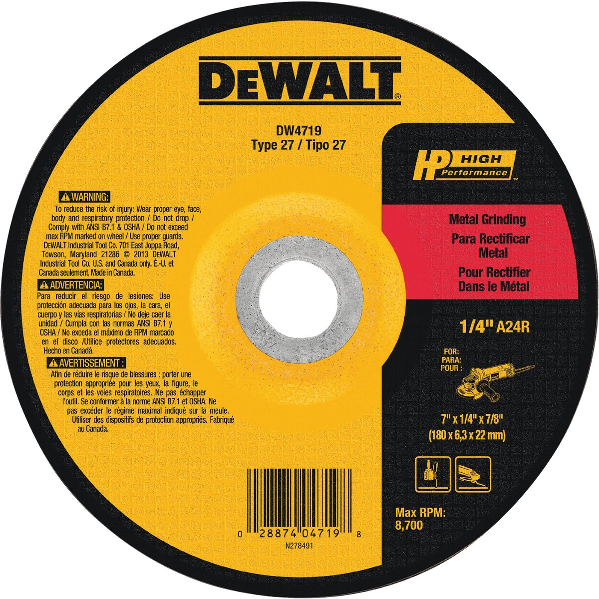 "7"" METAL GRINDING WHEEL - DW4719 by DeWalt"