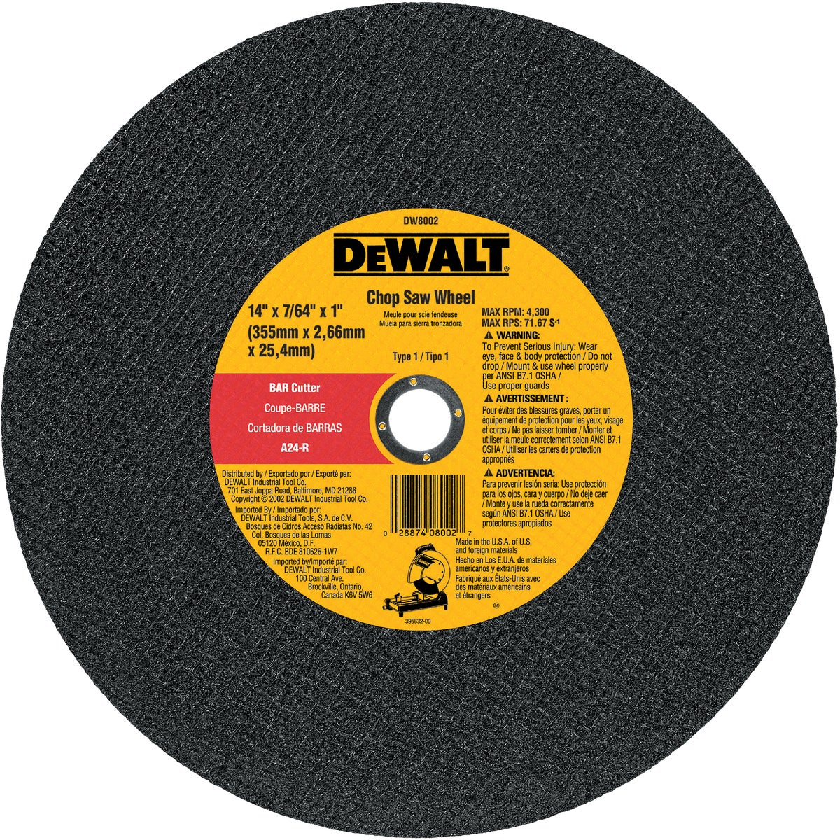 DEWALT DW8002 14-Inch by 7/64-Inch Bar Cutter Chop Saw Wheel