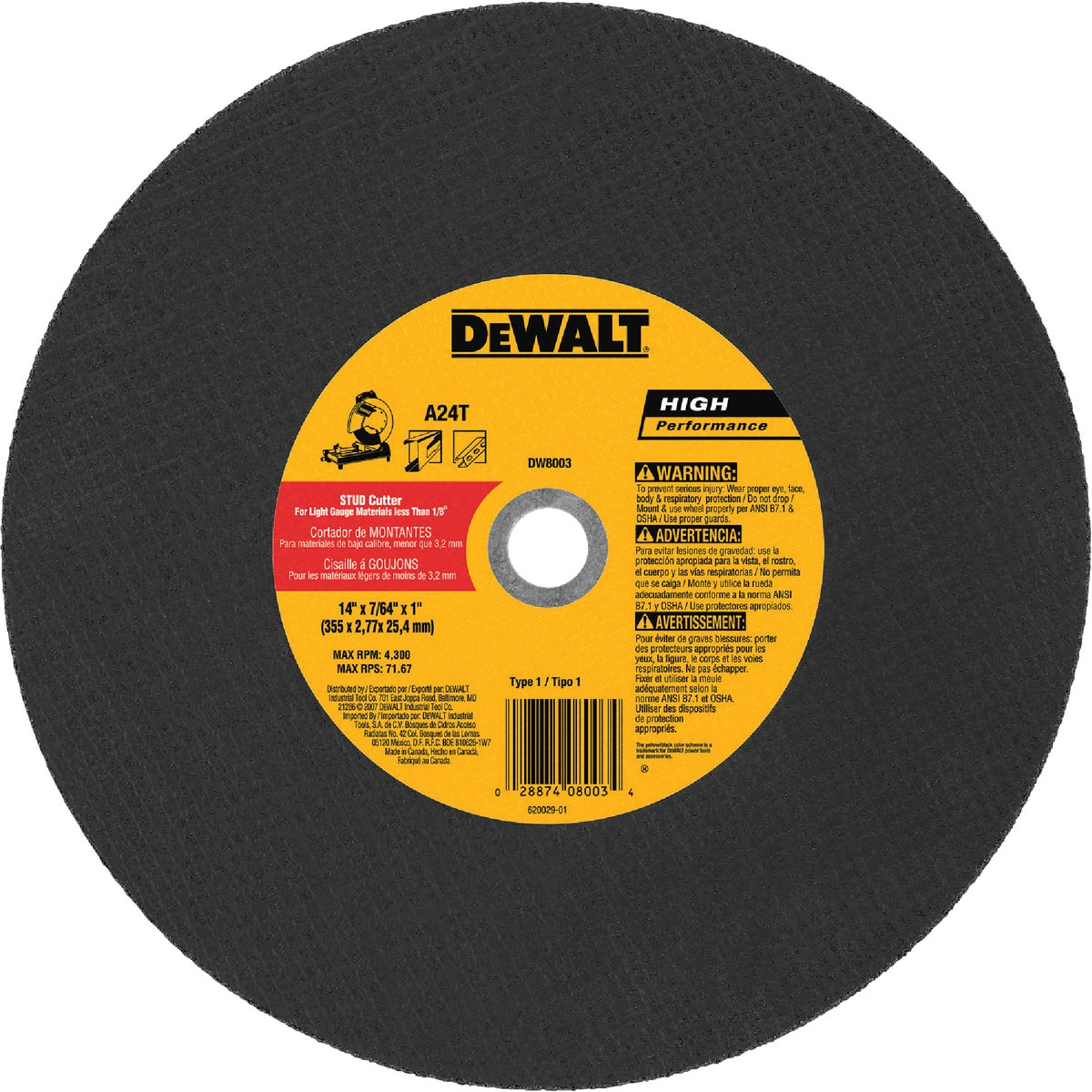 "14"" CUTOFF BLADE - DW8003 by DeWalt"