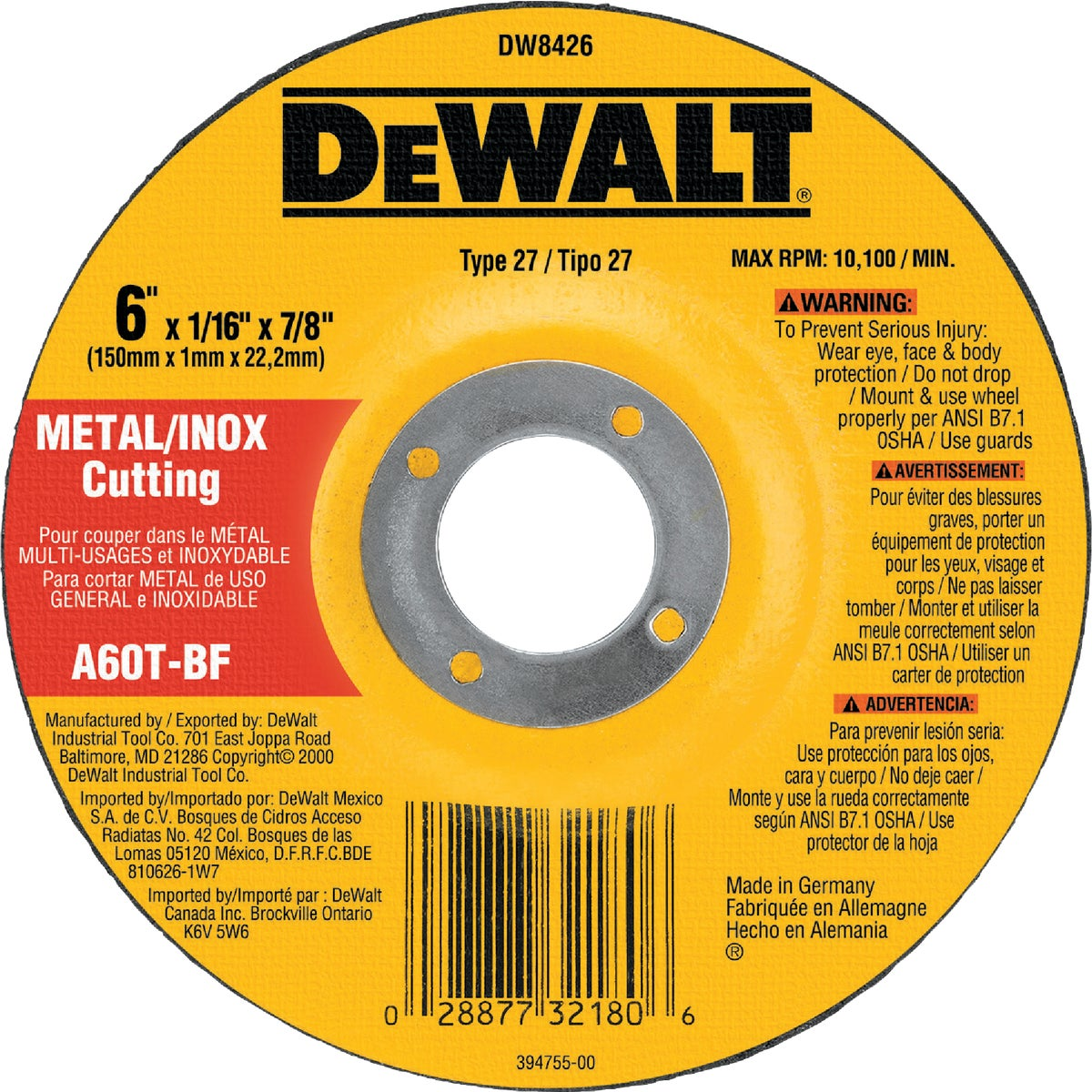 "6"" CUTOFF WHEEL - DW8426 by DeWalt"