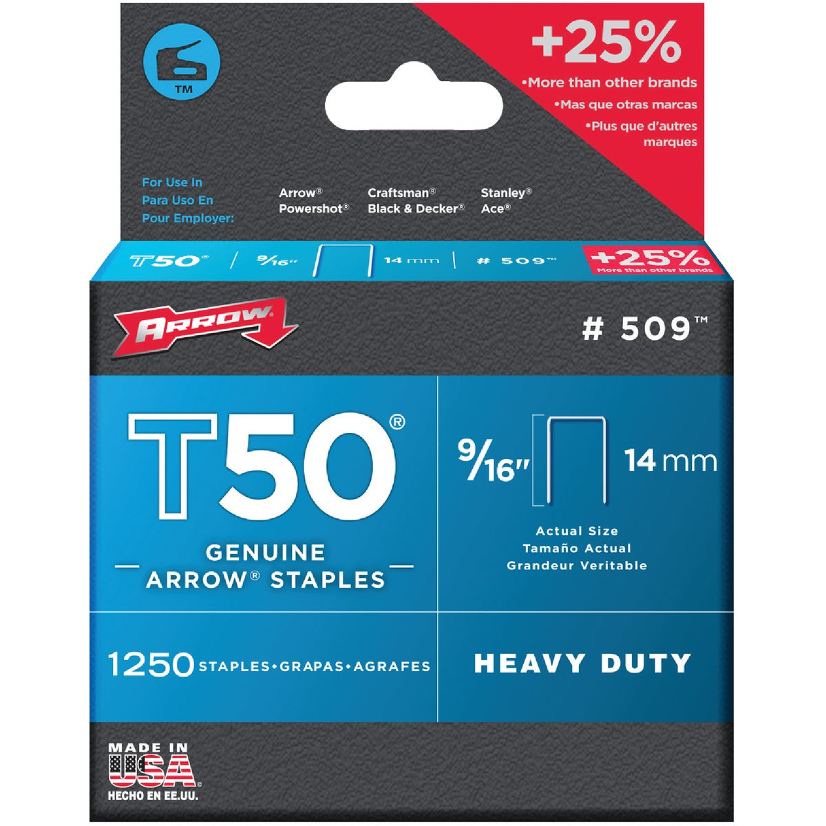 "1250PK 9/16"" T50 STAPLE - 50924 by Arrow Fastener Co"