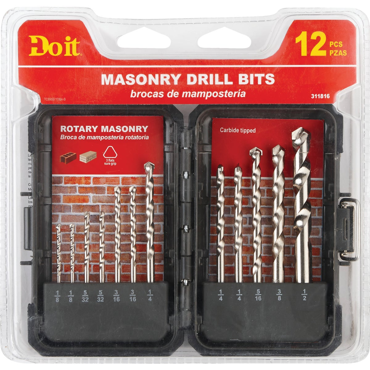 12PC MASONRY BIT SET