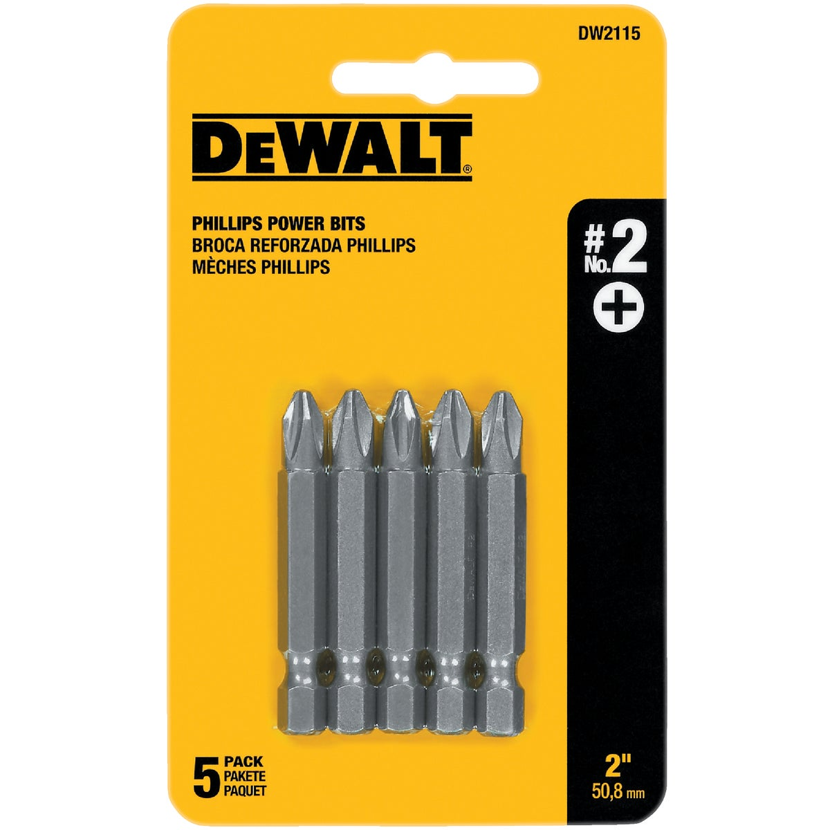 "5PC 2"" #2 PHILLIPS BIT - DW2115 by DeWalt"