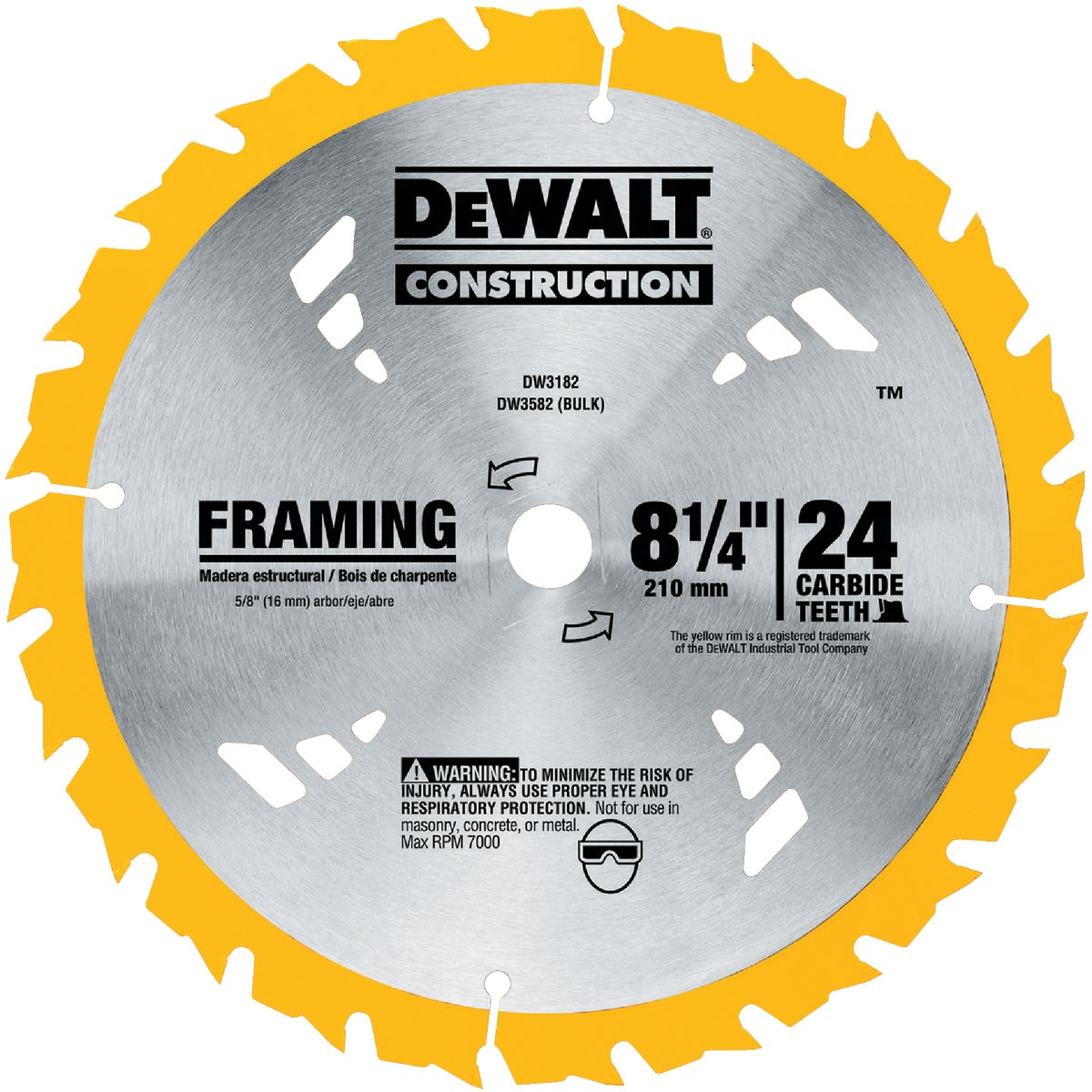 "8-1/4"" 24T CARBIDE BLADE - DW3182 by DeWalt"