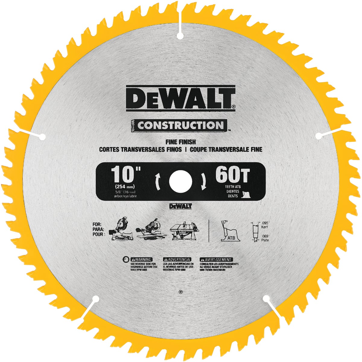 "10"" 60T CARBIDE BLADE - DW3106 by DeWalt"