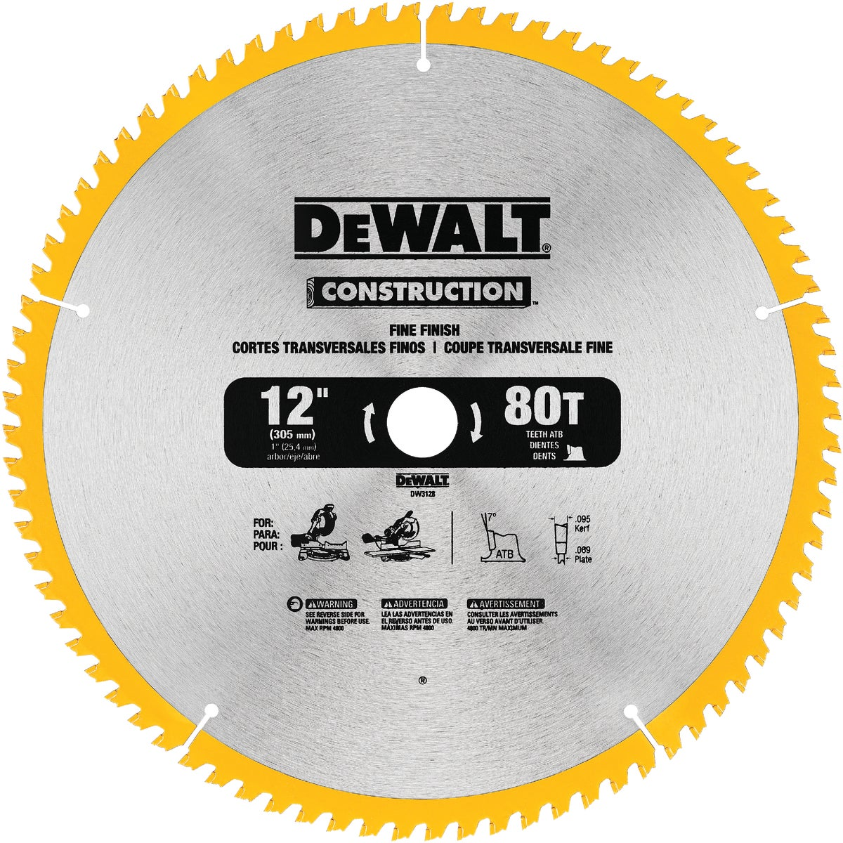 "12"" 80T CARBIDE BLADE - DW3128 by DeWalt"