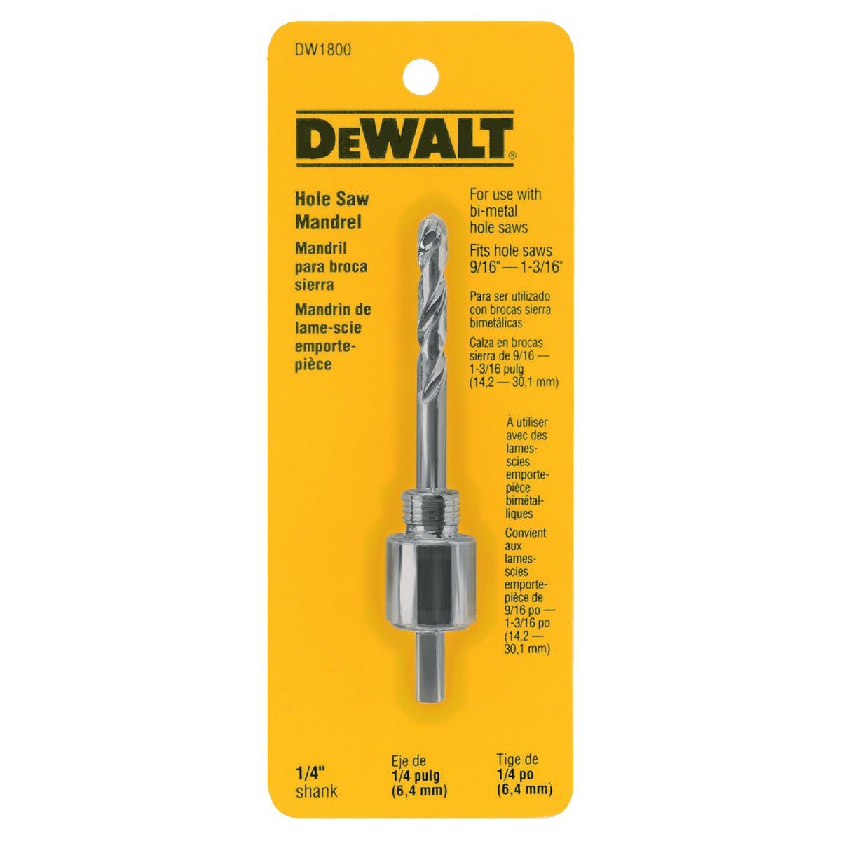 "1/4"" HOLE SAW MANDREL - DW1800 by DeWalt"