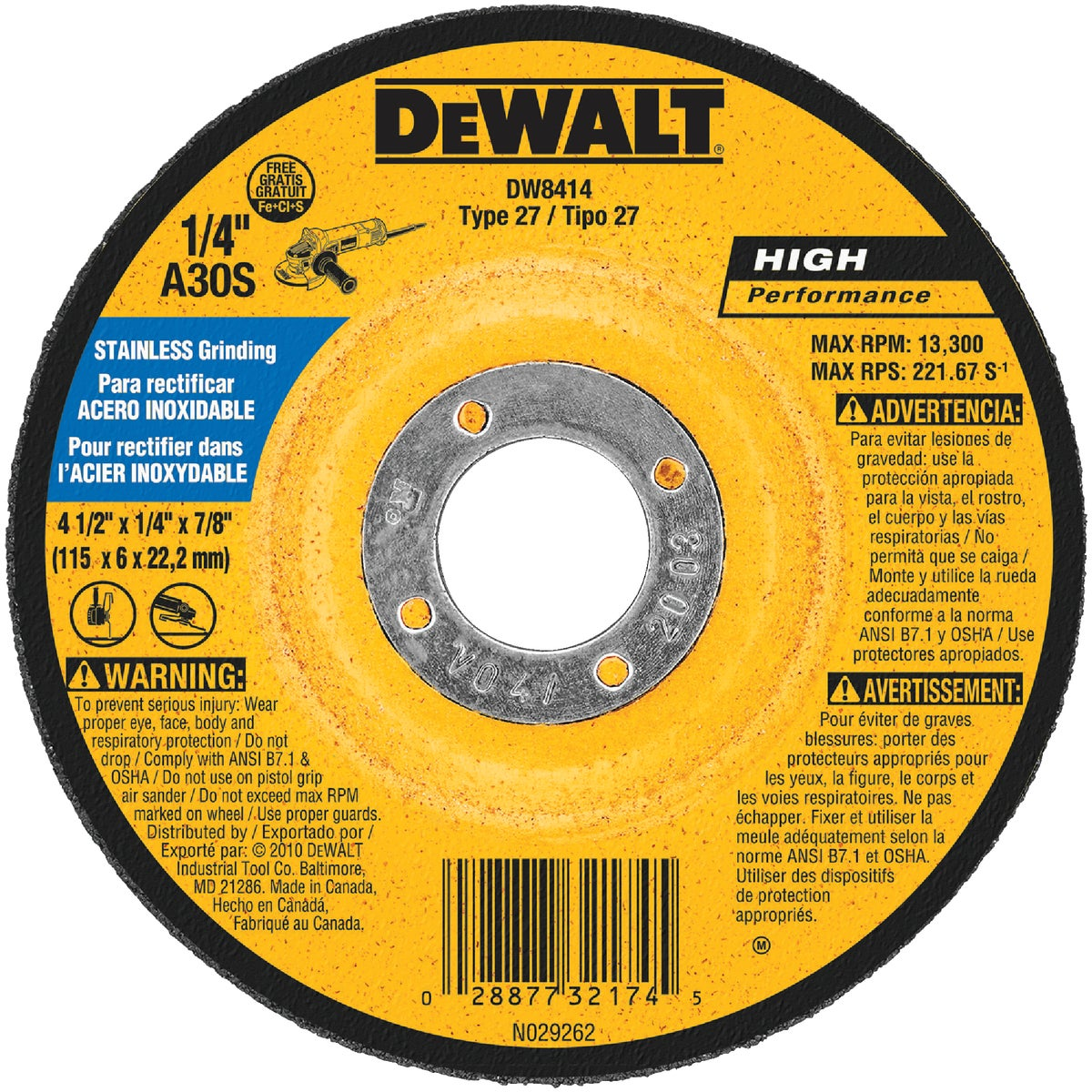 "4-1/2"" GRINDING WHEEL - DW8414 by DeWalt"