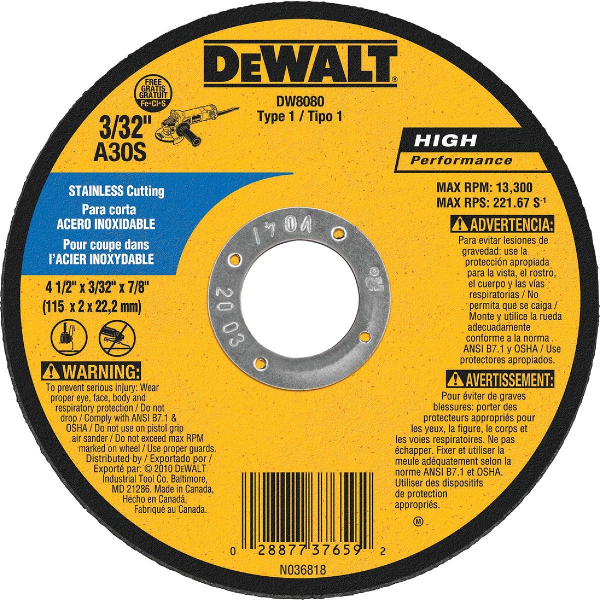 """4-1/2"""" 30G CUTOFF WHEEL - DW8080 by DeWalt"""