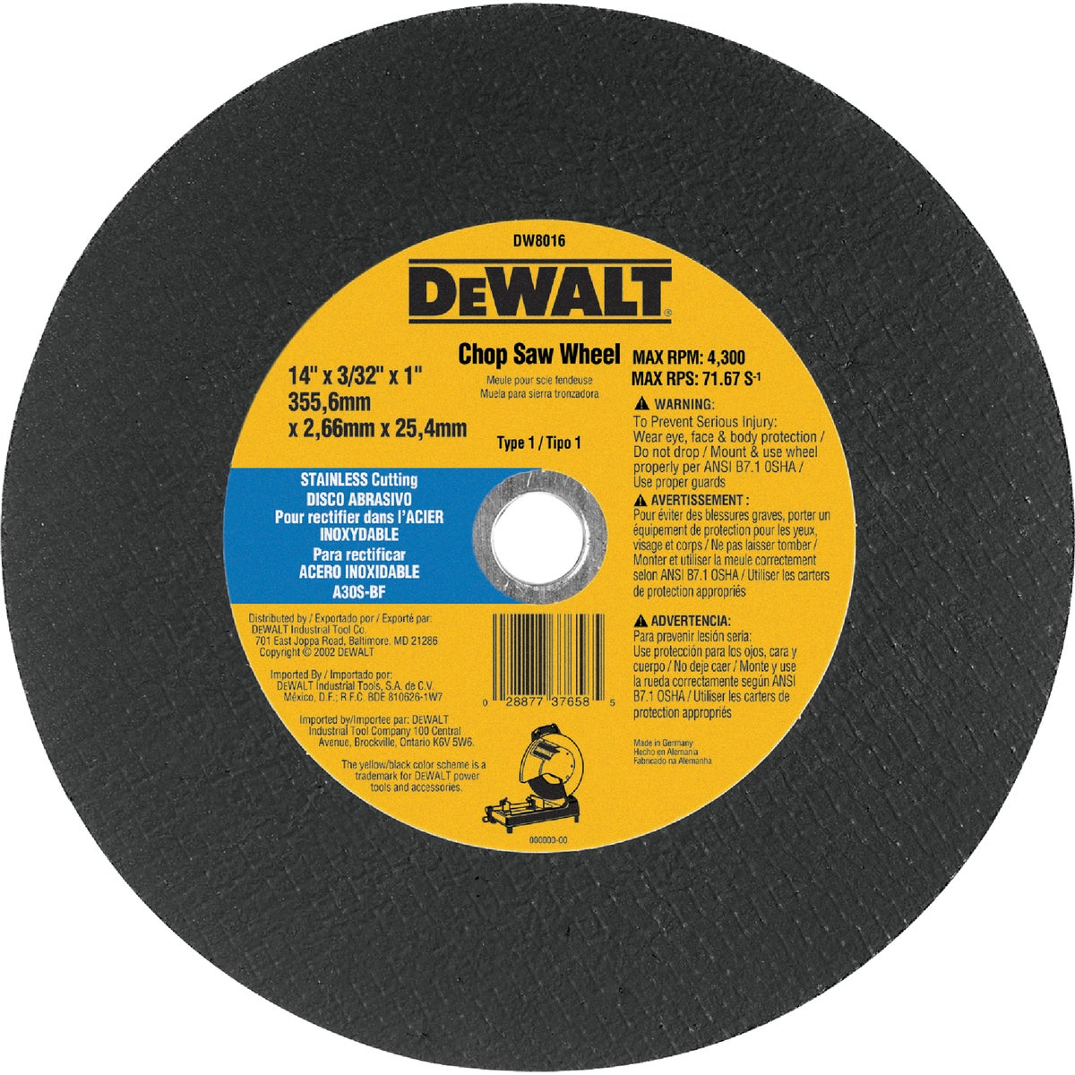 "14"" CUTOFF BLADE - DW8016 by DeWalt"