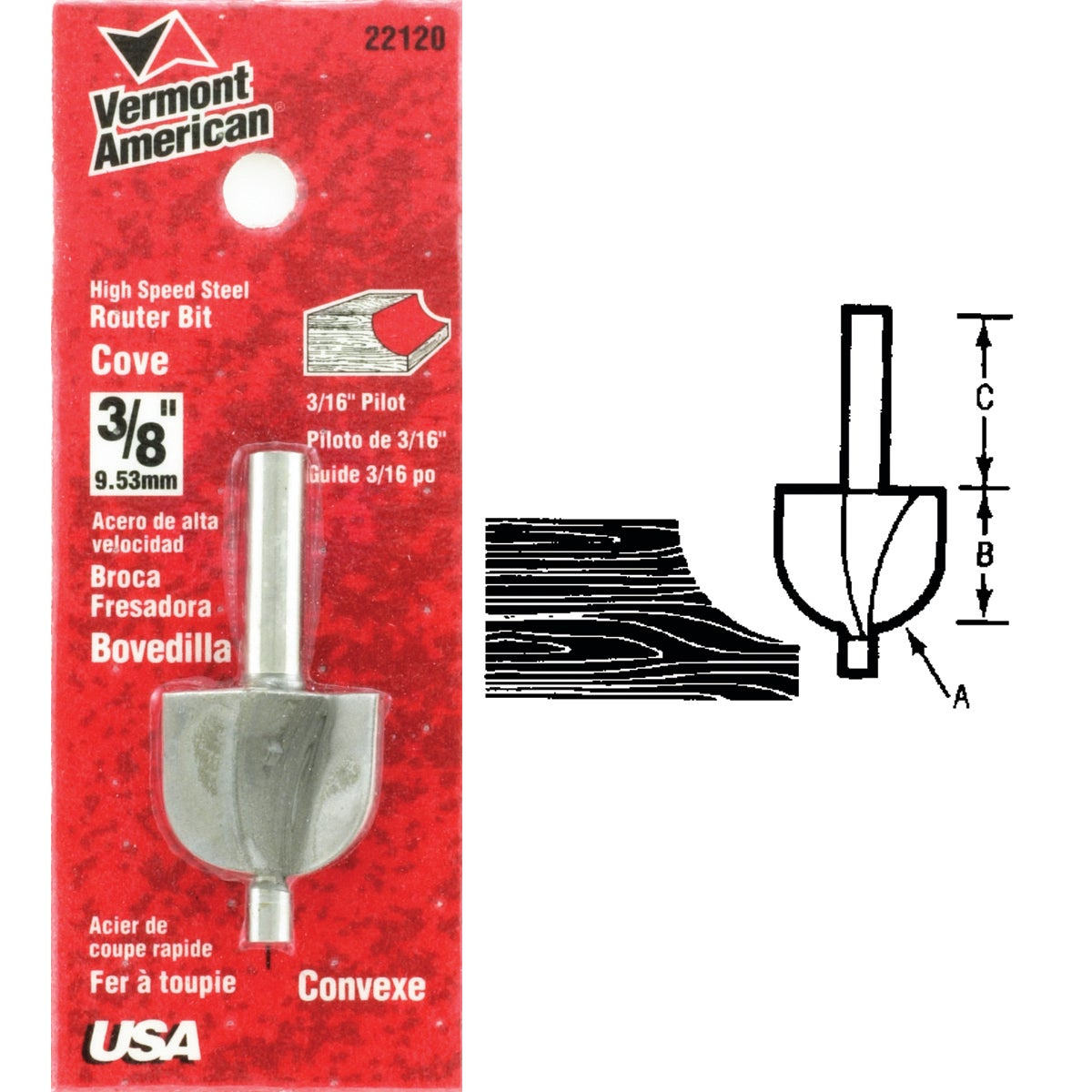"3/8"" COVE ROUTER BIT - 23140 by Vermont American"