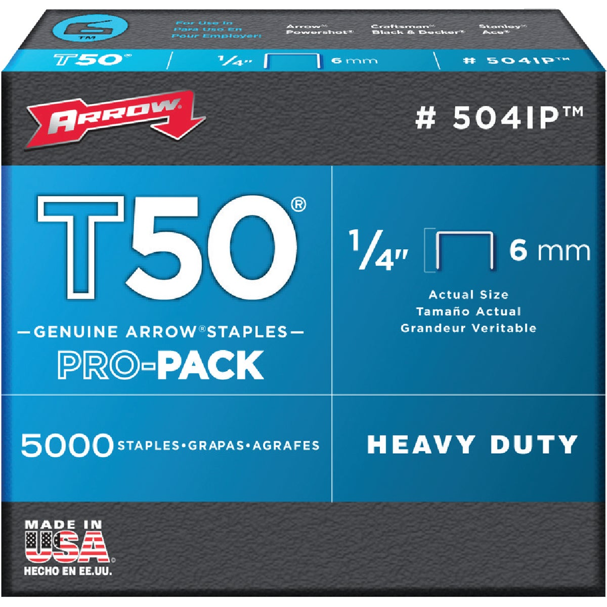 "1/4"" STAPLE - 504IP by Arrow Fastener Co"