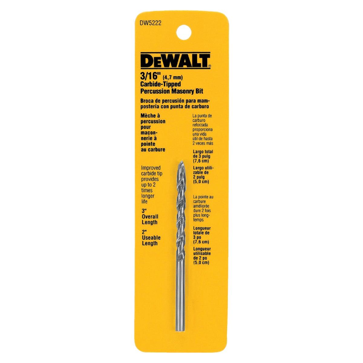 3/16X3 MASONRY DRILL BIT - DW5222 by DeWalt
