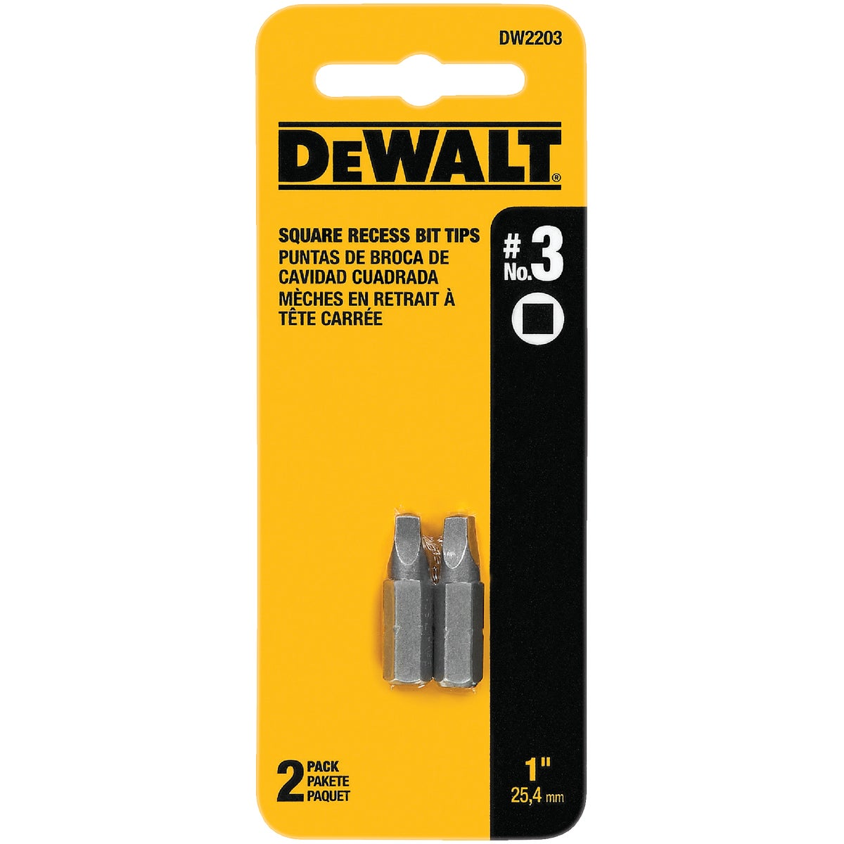 "#3 1"" SQUARE RECESS BIT - DW2203 by DeWalt"