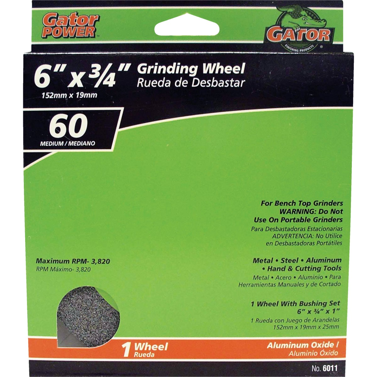 6X3/4 60G GRIND WHEEL - 6011 by Ali Industries Inc