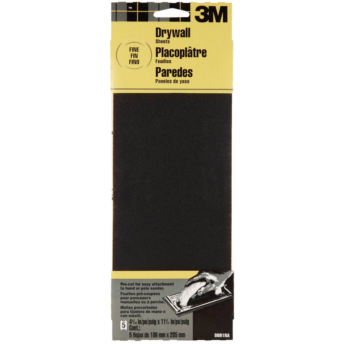 3M Fine Grade 4-3/16 In. x 11-1/4 In. Precut Drywall Sandpaper (2-Pack)