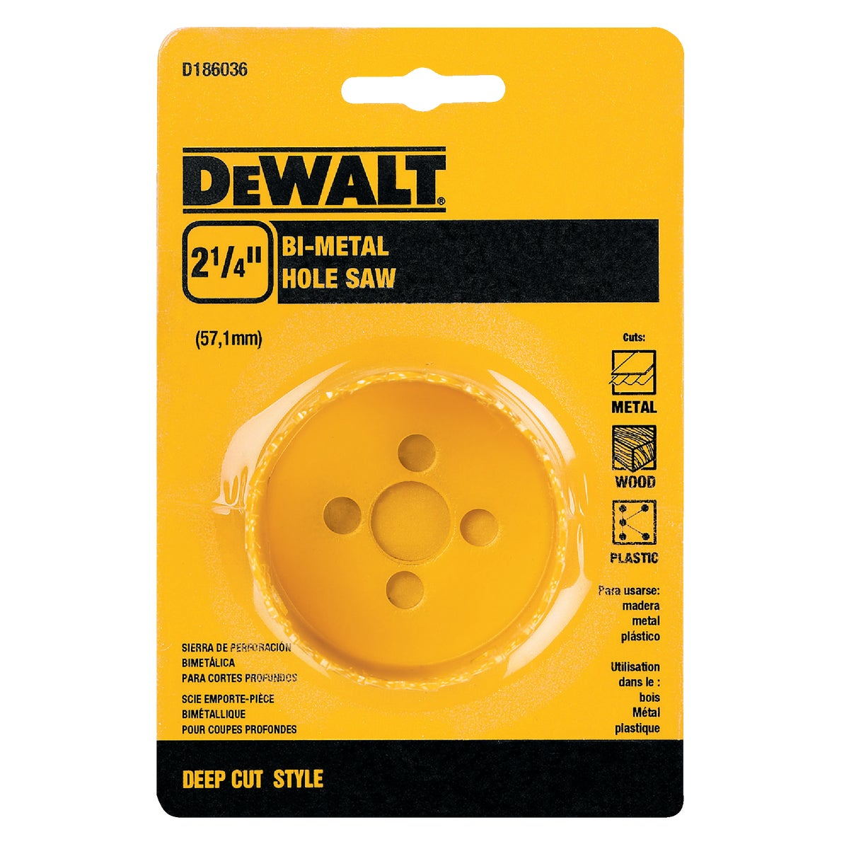 "2-1/4"" HOLE SAW - D180036 by DeWalt"