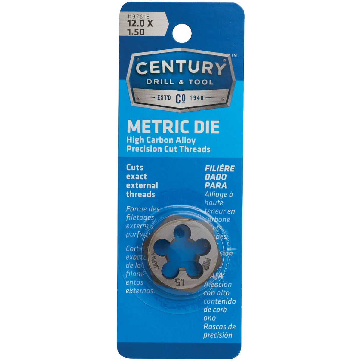 12MM-1.50 HEX DIE - 9743 by Irwin Industr Tool