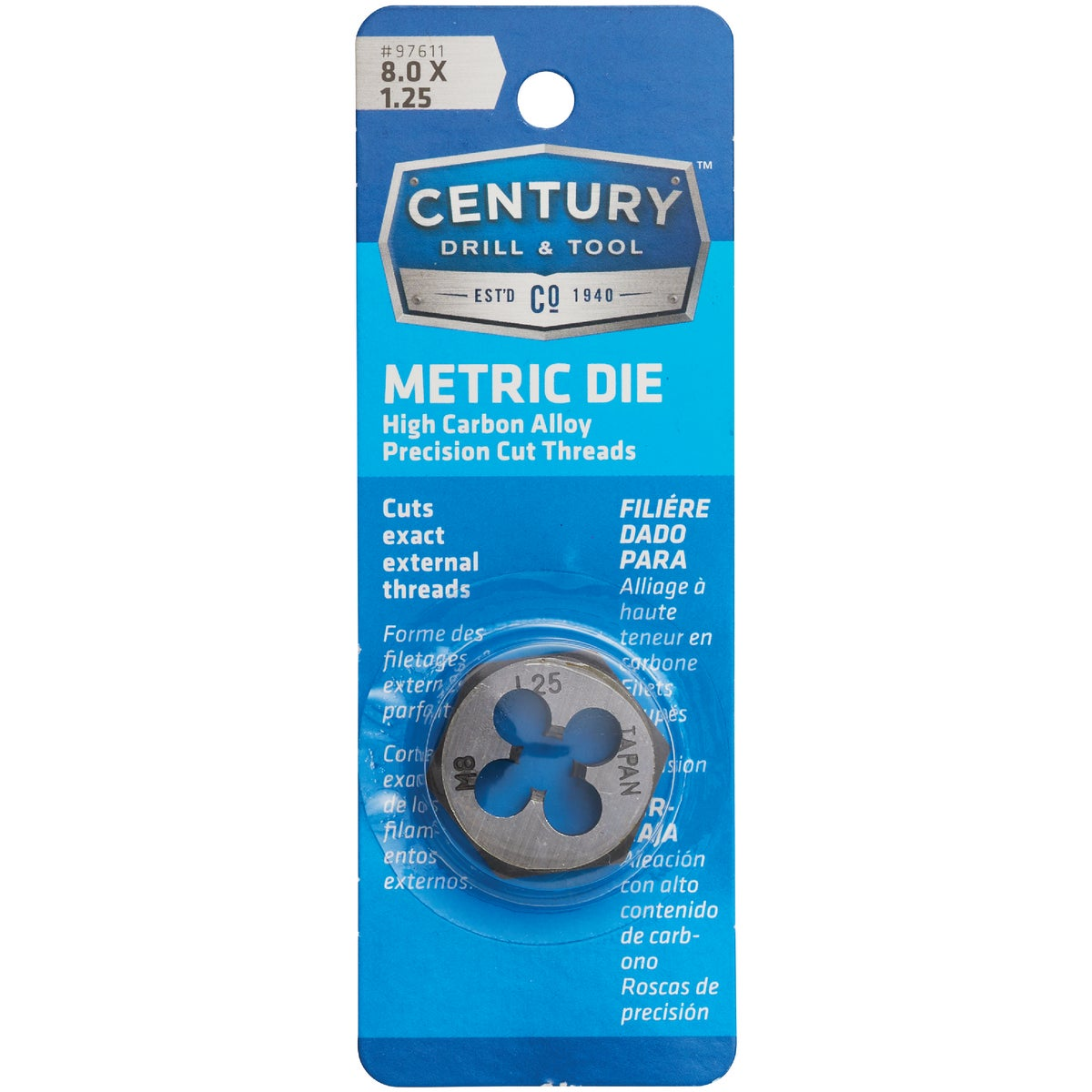8MM-1.25 HEX DIE - 9734 by Irwin Industr Tool
