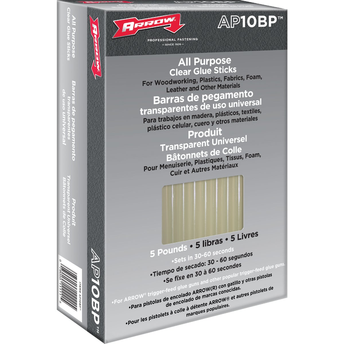 Arrow 10 In. Standard Clear Hot Melt Glue (5-Pound)