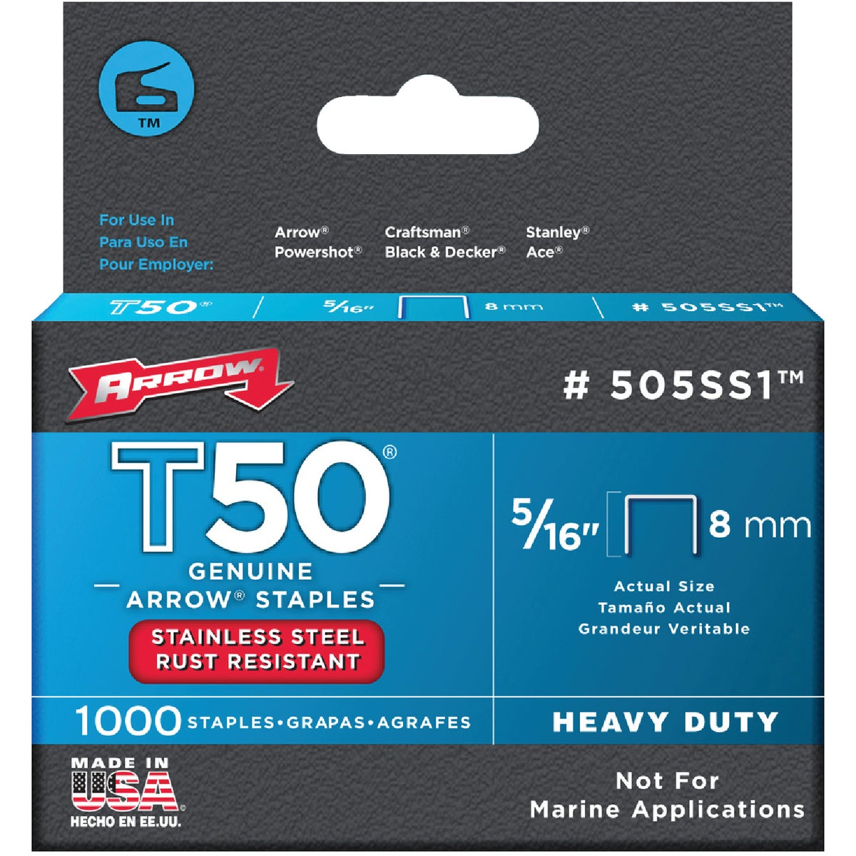 "5/16"" SS STAPLE - 505SS1 by Arrow Fastener Co"
