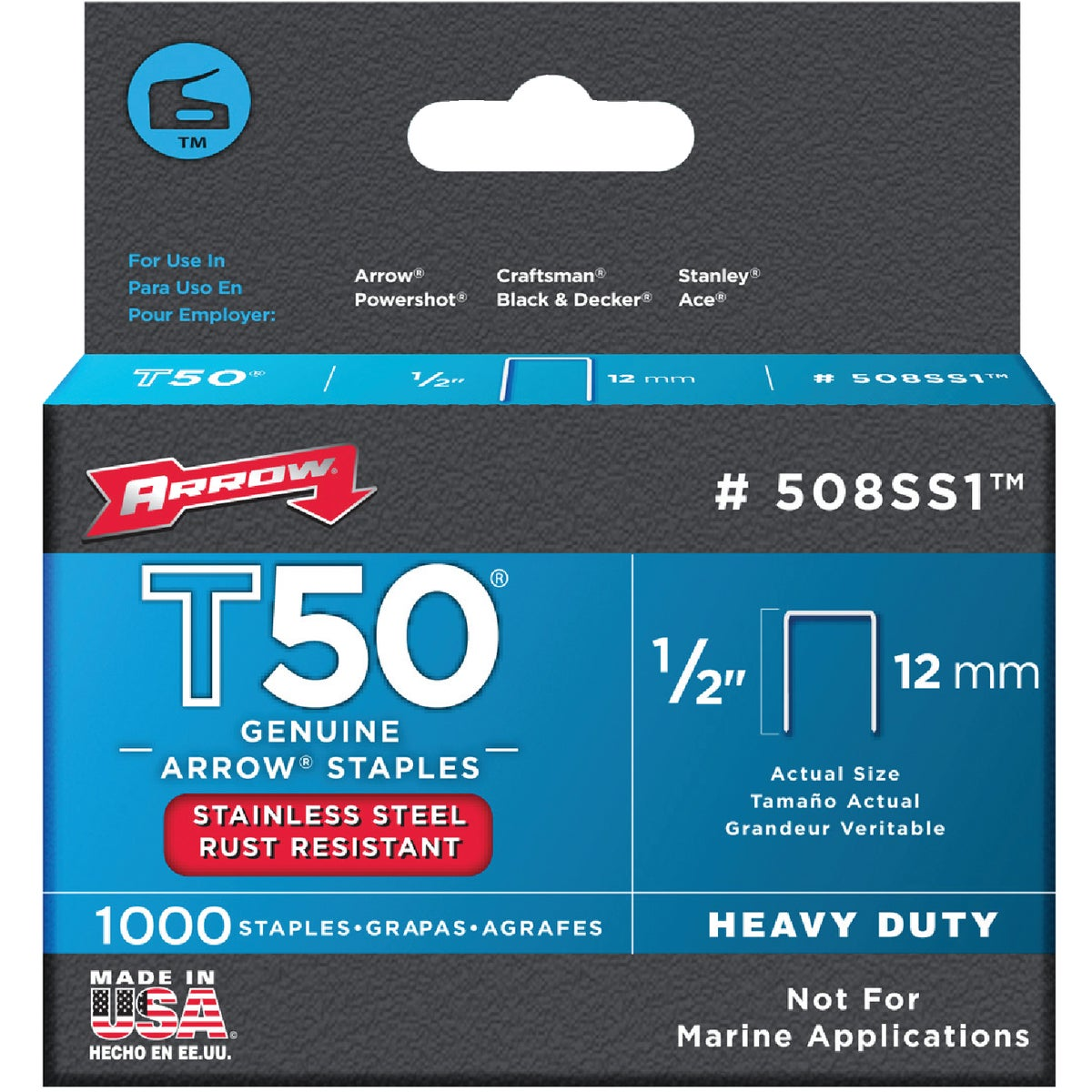"1/2"" SS STAPLE - 508SS1 by Arrow Fastener Co"