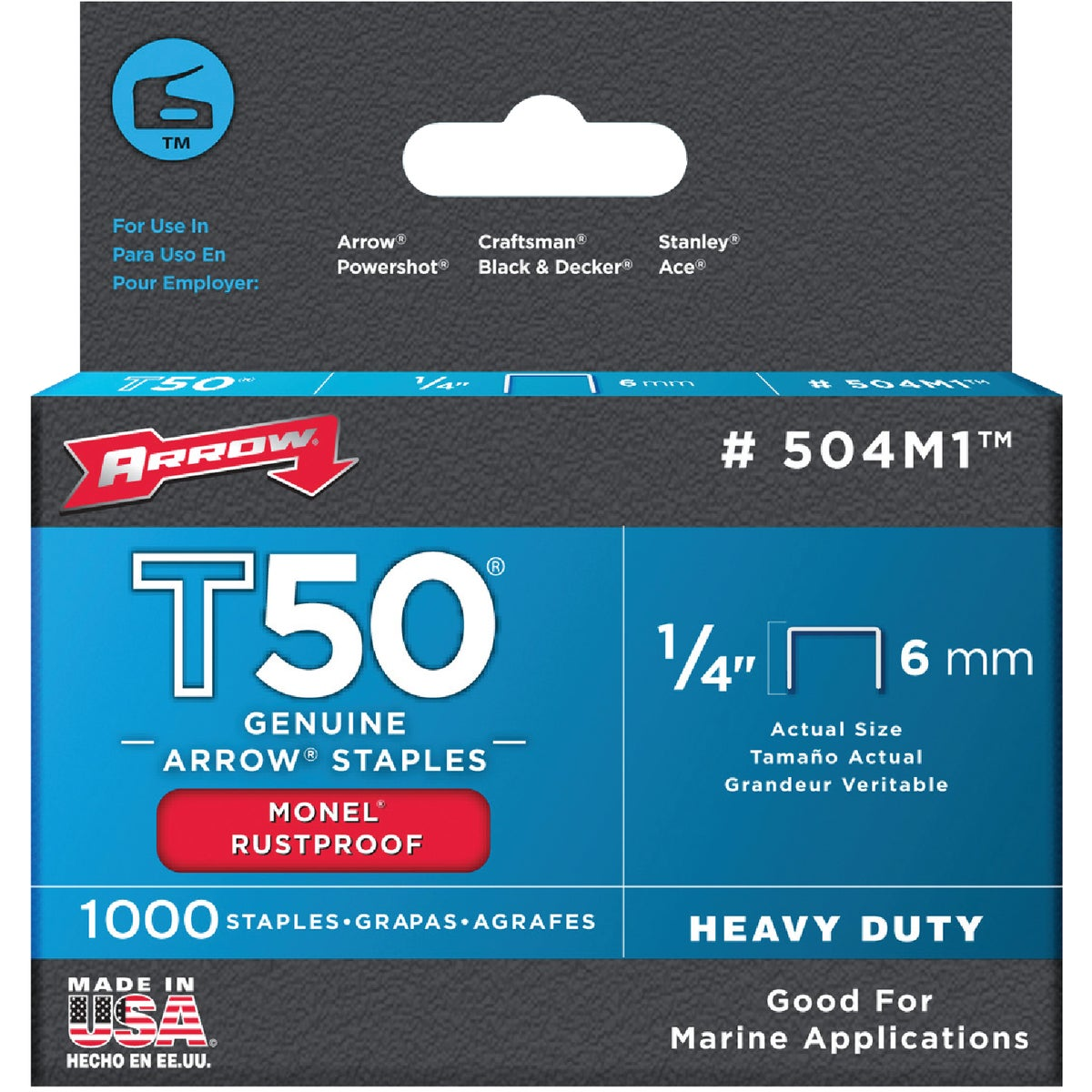 "1/4"" MONEL STAPLE - 504M1 by Arrow Fastener Co"