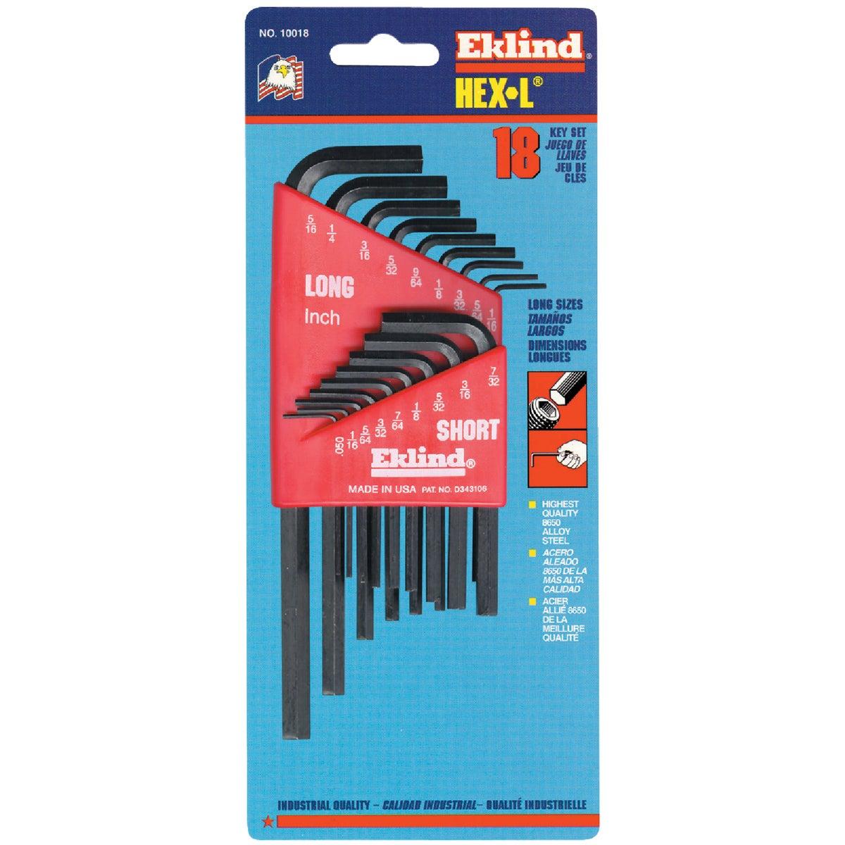 Eklind Combination Hex Key Set, 18-Piece