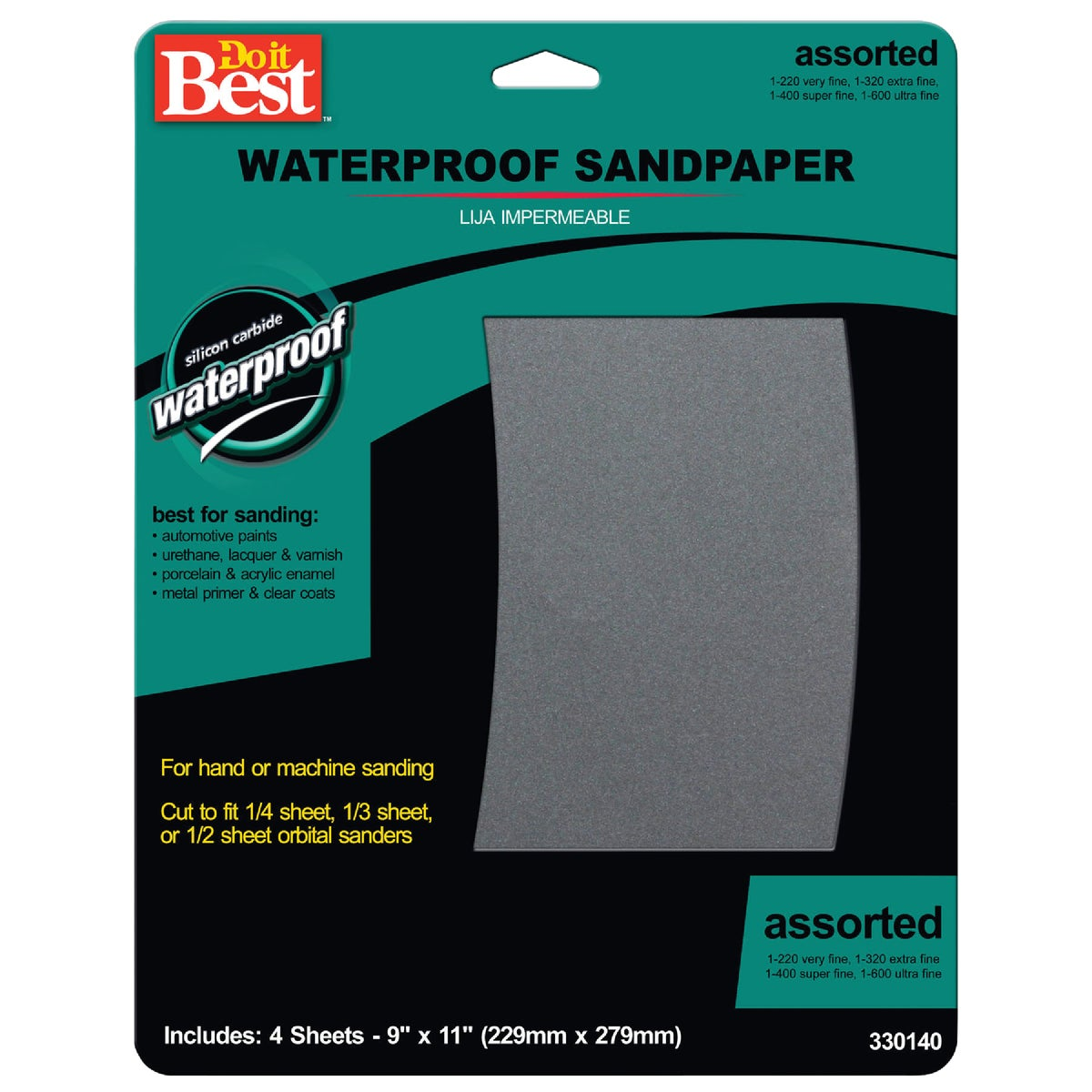 4PK ASTD WET SANDPAPER - 330140 by Ali Industries Inc