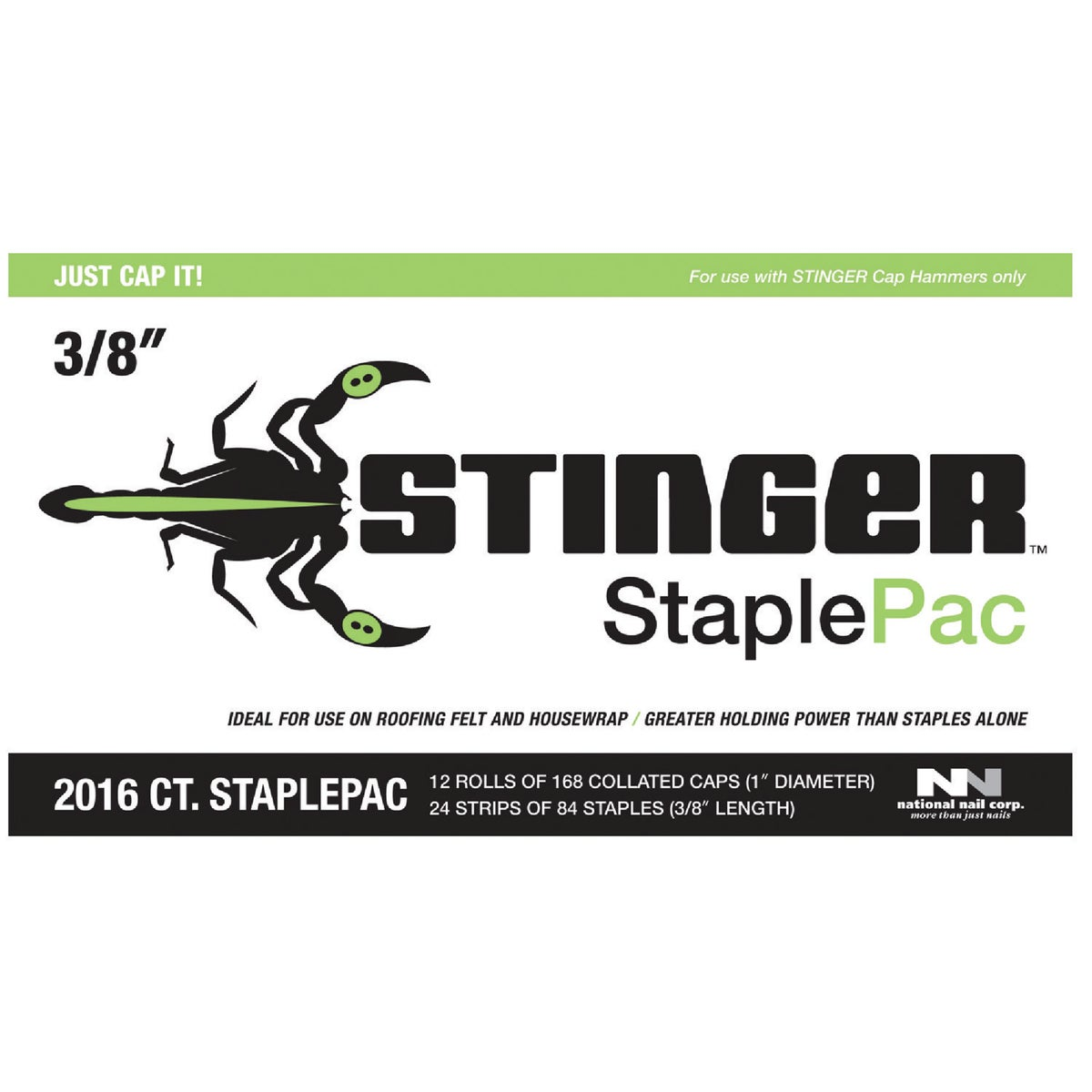 "3/8"" CAP STAPLES - 136420 by National Nail Corp"