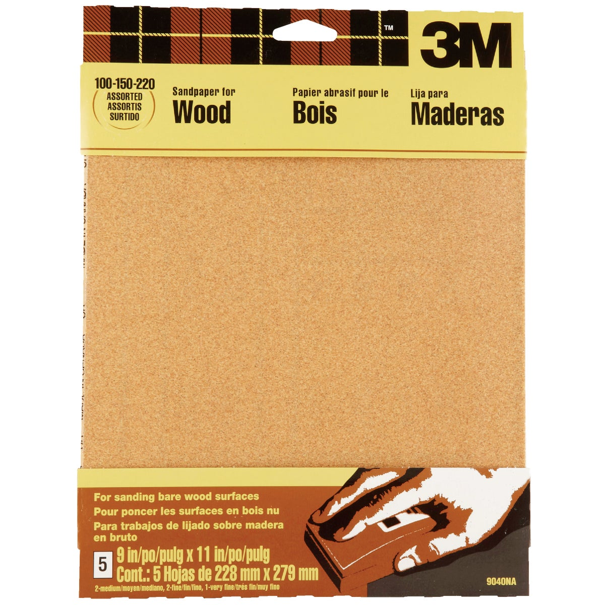 3M Bare Wood 9 In. x 11 In. 220/150/100 Grit Assorted Grade Sandpaper (5-Pack)