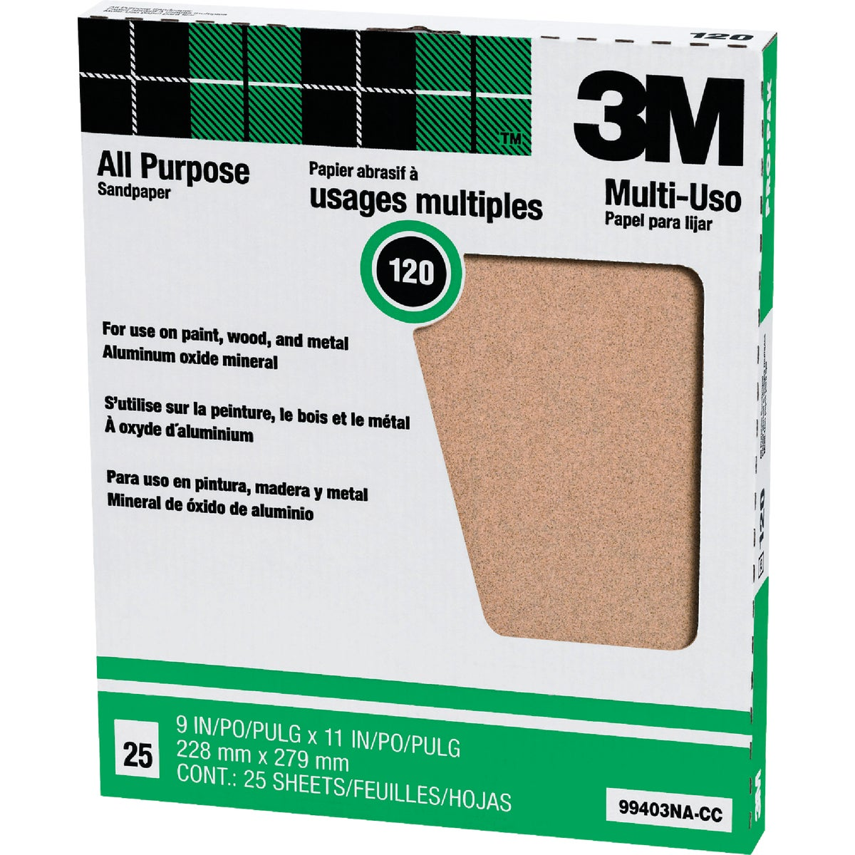 3M All-Purpose 9 In. x 11 In. 100 Grit Fine Sandpaper (25-Pack)