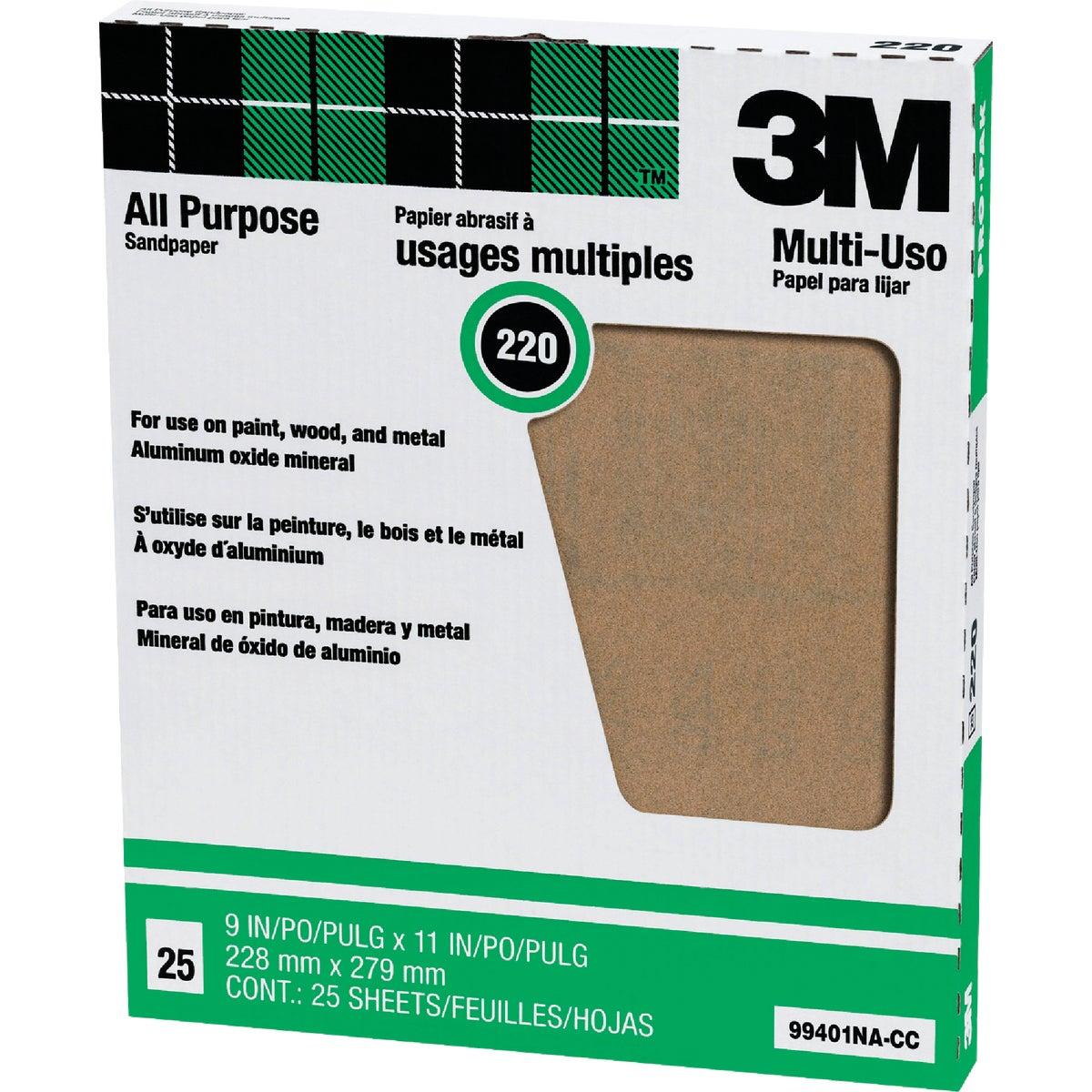 3M All-Purpose 9 In. x 11 In. 220 Grit Very Fine Sandpaper (25-Pack)