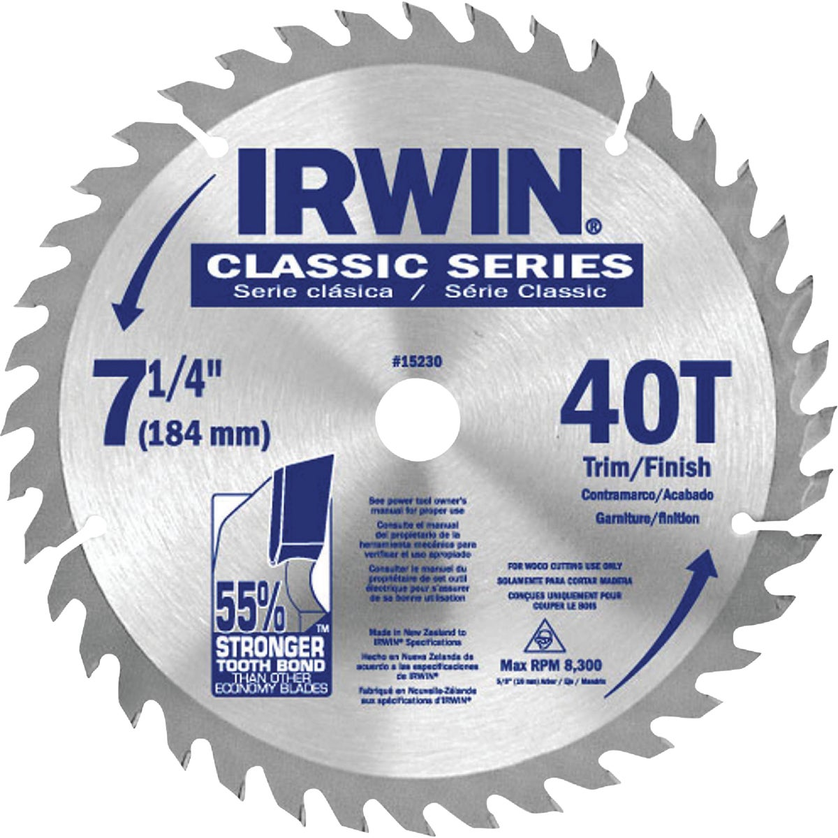 "7-1/4"" RIP CUTOFF BLADE - 25230 by Irwin Industr Tool"