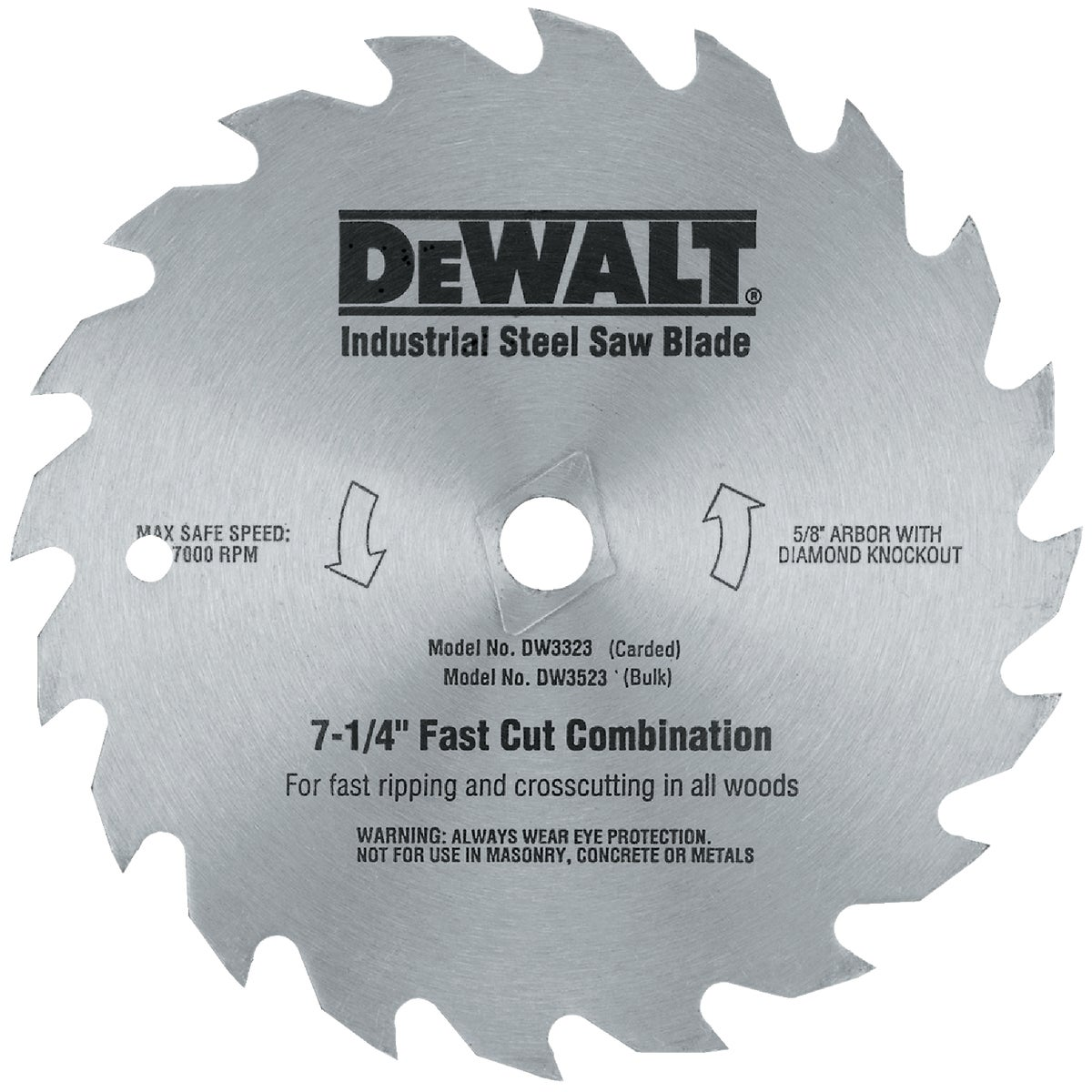 "7-1/4"" 20T STEEL BLADE - DW3323 by DeWalt"