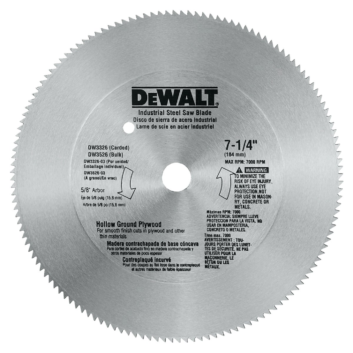 "7-1/4"" 140T STEEL BLADE - DW3326 by DeWalt"