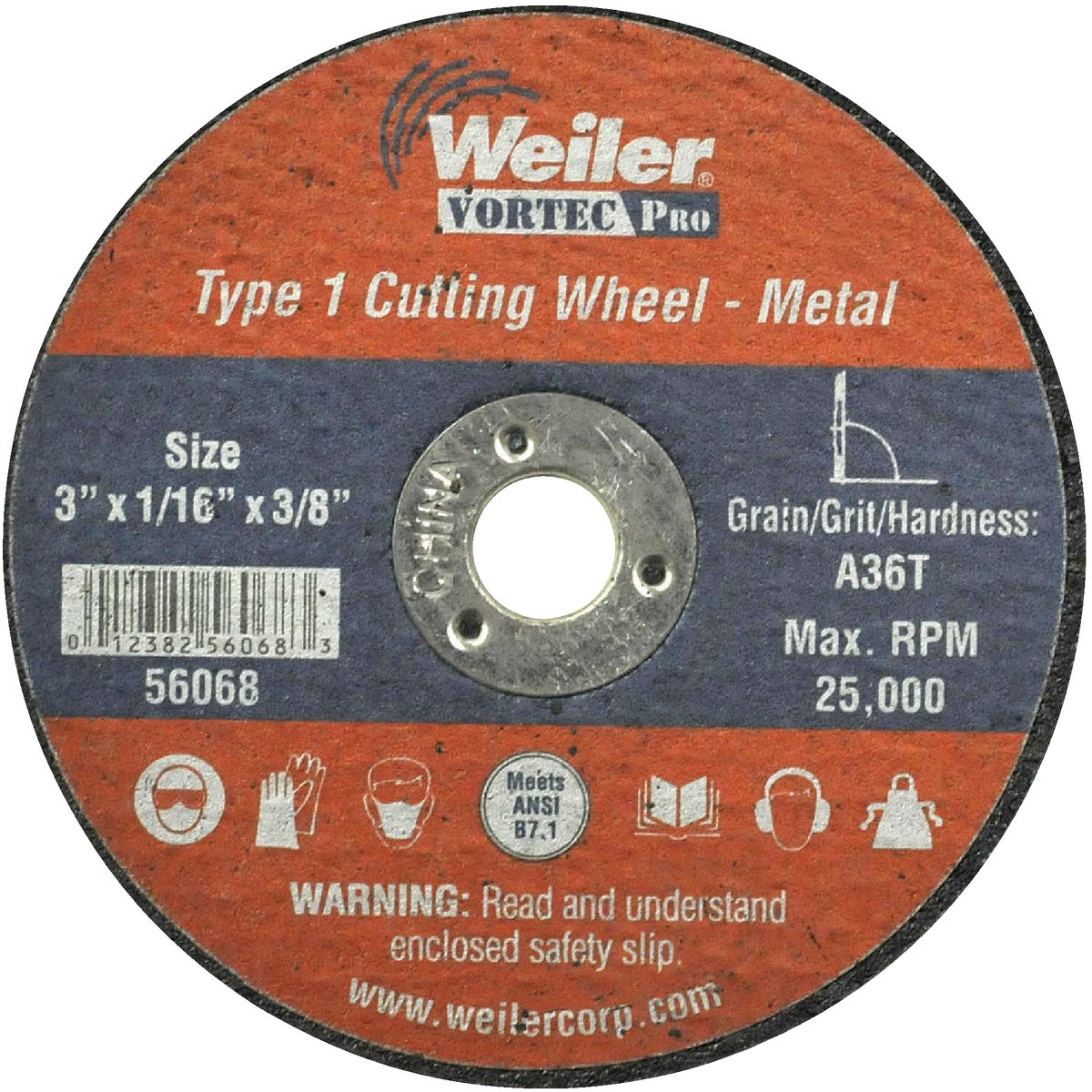 3X1/16 ABRASIVE WHEEL - 36537 by Weiler Corporation