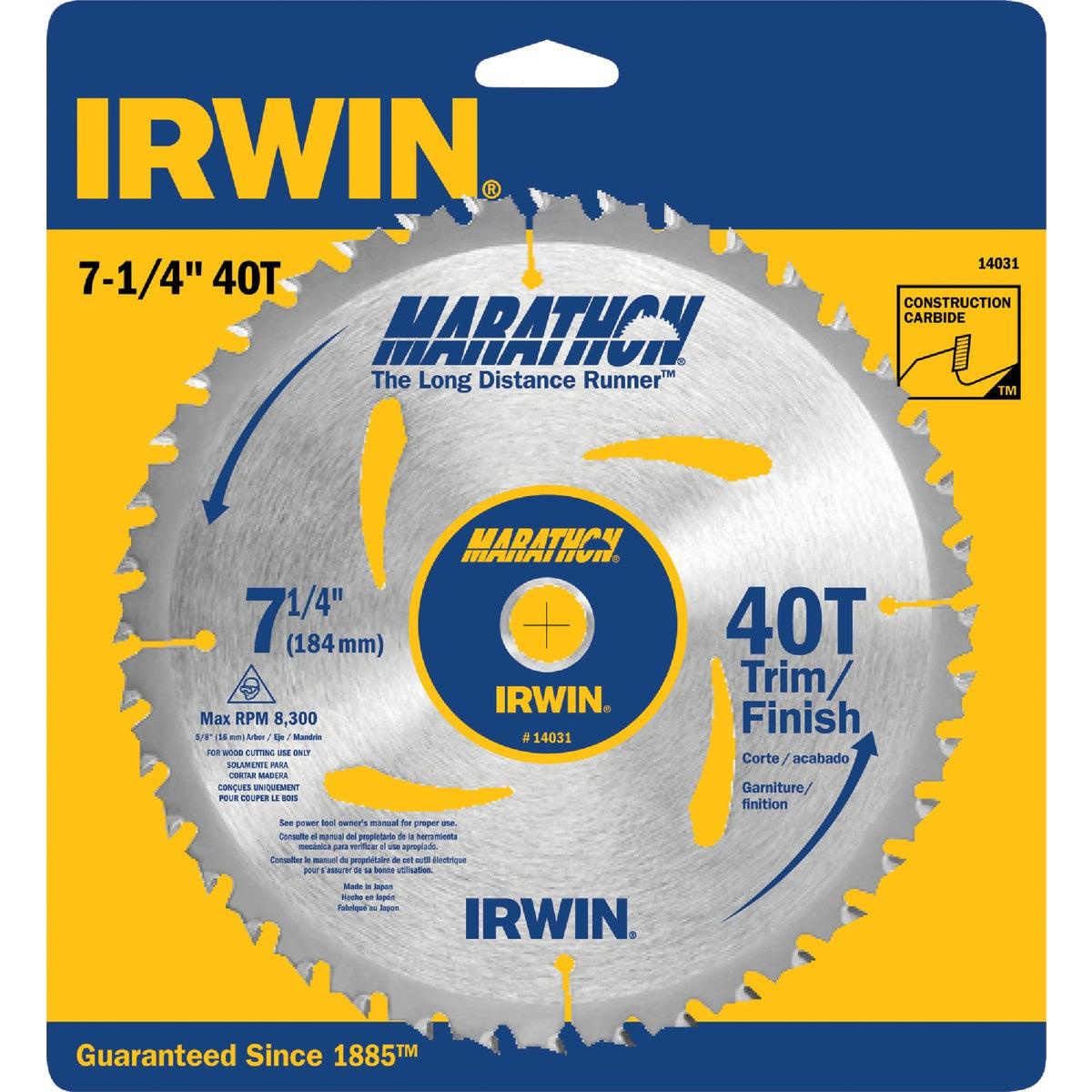 "7-1/4""40T MARATHON BLADE - 14031 by Irwin Industr Tool"